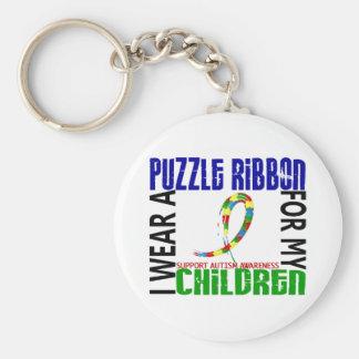 I Wear Puzzle Ribbon For My Children 46 Autism Basic Round Button Keychain