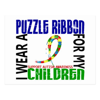 I Wear Puzzle Ribbon For My Children 46 Autism Postcard