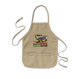 I Wear Puzzle Ribbon For My Cousin 33 AUTISM Apron