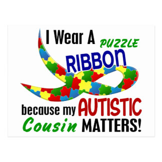 I Wear Puzzle Ribbon For My Cousin 33 AUTISM Postcard