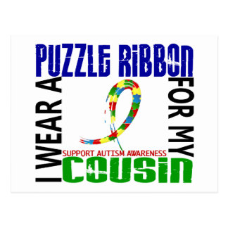 I Wear Puzzle Ribbon For My Cousin 46 Autism Postcard