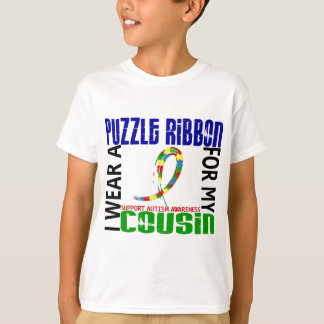 I Wear Puzzle Ribbon For My Cousin 46 Autism T-Shirt