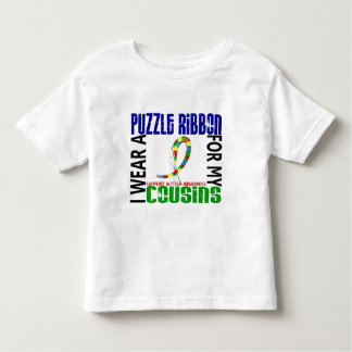 I Wear Puzzle Ribbon For My Cousins 46 Autism Toddler T-shirt