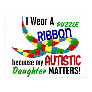 I Wear Puzzle Ribbon For My Daughter 33 AUTISM Postcard