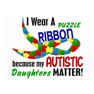 I Wear Puzzle Ribbon For My Daughters 33 AUTISM Postcard