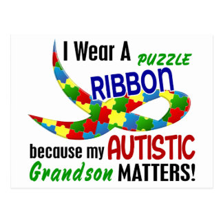 I Wear Puzzle Ribbon For My Grandson 33 AUTISM Postcard