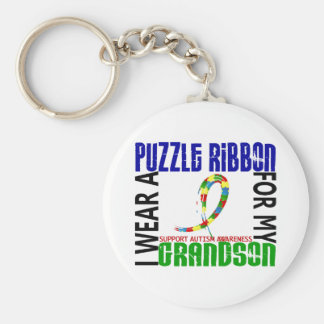 I Wear Puzzle Ribbon For My Grandson 46 Autism Keychains