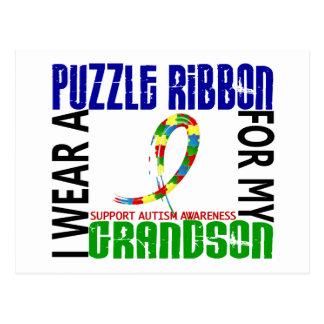 I Wear Puzzle Ribbon For My Grandson 46 Autism Postcard
