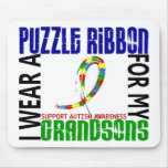 I Wear Puzzle Ribbon For My Grandsons 46 Autism Mouse Pad