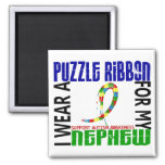 I Wear Puzzle Ribbon For My Nephew 46 Autism Refrigerator Magnet