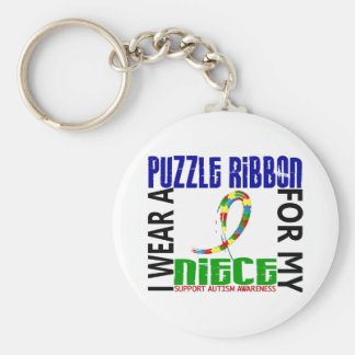 I Wear Puzzle Ribbon For My Niece 46 Autism Key Chain