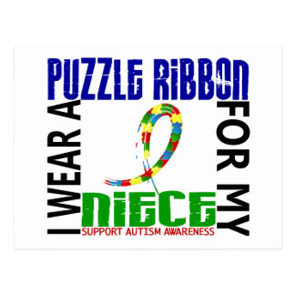 I Wear Puzzle Ribbon For My Niece 46 Autism Postcard