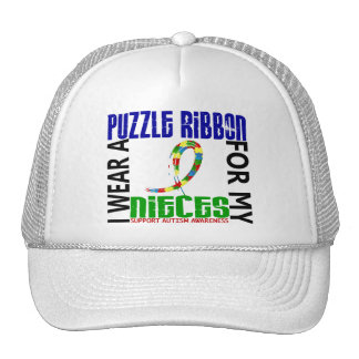 I Wear Puzzle Ribbon For My Nieces 46 Autism Hat