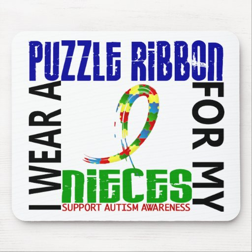 I Wear Puzzle Ribbon For My Nieces 46 Autism Mousepads