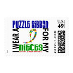 I Wear Puzzle Ribbon For My Nieces 46 Autism Postage