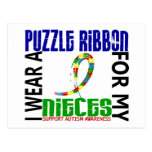 I Wear Puzzle Ribbon For My Nieces 46 Autism Post Cards