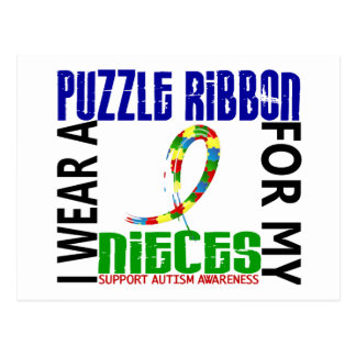 I Wear Puzzle Ribbon For My Nieces 46 Autism Postcard