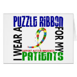 I Wear Puzzle Ribbon For My Patients 46 Autism Greeting Card