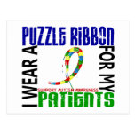 I Wear Puzzle Ribbon For My Patients 46 Autism Postcard