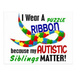 I Wear Puzzle Ribbon For My Siblings 33 AUTISM Postcard