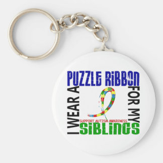 I Wear Puzzle Ribbon For My Siblings 46 Autism Keychain