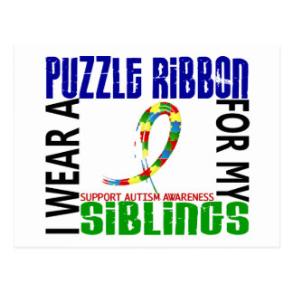 I Wear Puzzle Ribbon For My Siblings 46 Autism Postcard