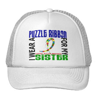 I Wear Puzzle Ribbon For My Sister 46 Autism Trucker Hats
