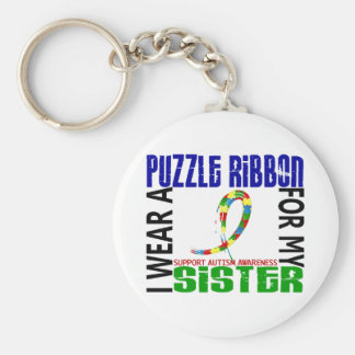 I Wear Puzzle Ribbon For My Sister 46 Autism Keychains