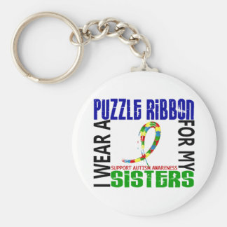 I Wear Puzzle Ribbon For My Sisters 46 Autism Keychain