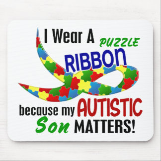 I Wear Puzzle Ribbon For My Son 33 AUTISM T-Shirts Mouse Pad