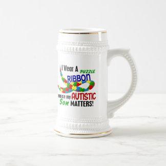I Wear Puzzle Ribbon For My Son 33 AUTISM T-Shirts Coffee Mug