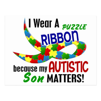 I Wear Puzzle Ribbon For My Son 33 AUTISM T-Shirts Postcard