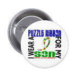 I Wear Puzzle Ribbon For My Son 46 Autism Pinback Buttons