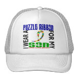 I Wear Puzzle Ribbon For My Son 46 Autism Trucker Hats