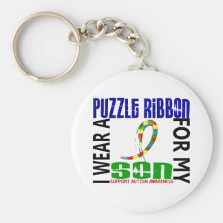 I Wear Puzzle Ribbon For My Son 46 Autism Keychain