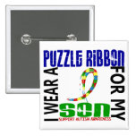 I Wear Puzzle Ribbon For My Son 46 Autism Pins