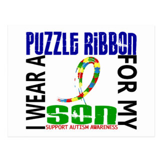 I Wear Puzzle Ribbon For My Son 46 Autism Postcard