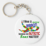 I Wear Puzzle Ribbon For My Sons 33 AUTISM Shirts Key Chain