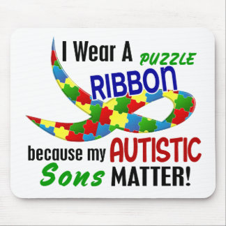 I Wear Puzzle Ribbon For My Sons 33 AUTISM Shirts Mouse Pad