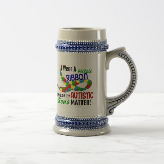 I Wear Puzzle Ribbon For My Sons 33 AUTISM Shirts Coffee Mugs