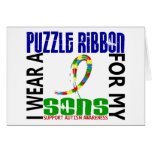 I Wear Puzzle Ribbon For My Sons 46 Autism Greeting Card