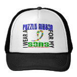 I Wear Puzzle Ribbon For My Sons 46 Autism Trucker Hat