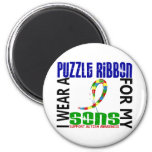 I Wear Puzzle Ribbon For My Sons 46 Autism Fridge Magnets