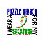 I Wear Puzzle Ribbon For My Sons 46 Autism Postcard