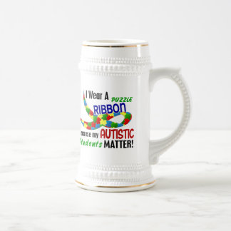 I Wear Puzzle Ribbon For My Students 33 AUTISM Mugs