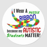 I Wear Puzzle Ribbon For My Students 33 AUTISM Sticker