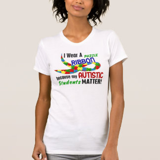 I Wear Puzzle Ribbon For My Students 33 AUTISM T-Shirt