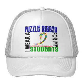 I Wear Puzzle Ribbon For My Students 46 Autism Trucker Hats
