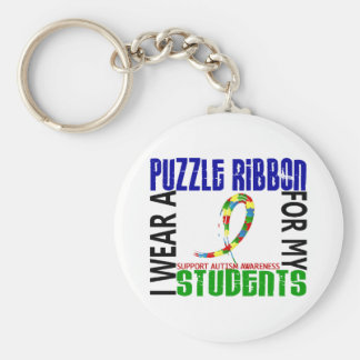 I Wear Puzzle Ribbon For My Students 46 Autism Key Chain