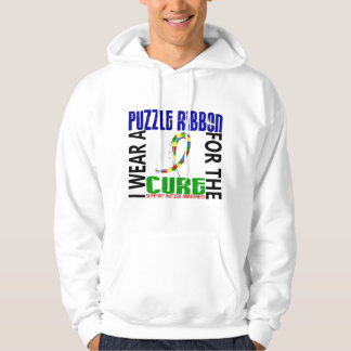 I Wear Puzzle Ribbon For The Cure 46 Autism Hoodie